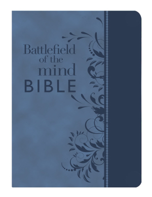 Amplified Battlefield Of The Mind Bible Blue Bonded Leather