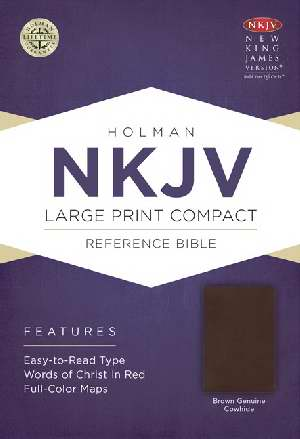 NKJV Large Print Compact Reference Bible-Brown Genuine Leather