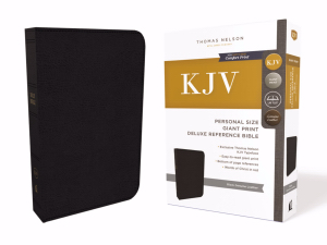 KJV Personal Size Giant Print Reference Bible Black Gen. Leather