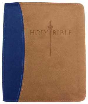 KJVer Sword Study Bible Thinline/Personal Size Blue/Tan Leathers