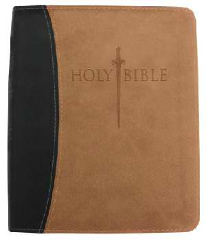 KJVer Sword Study Bible Thinline/Personal Size Black/Tan Leather