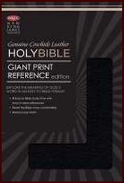 NKJV Personal Size Giant Print Reference Bible-Black Genuine Cow