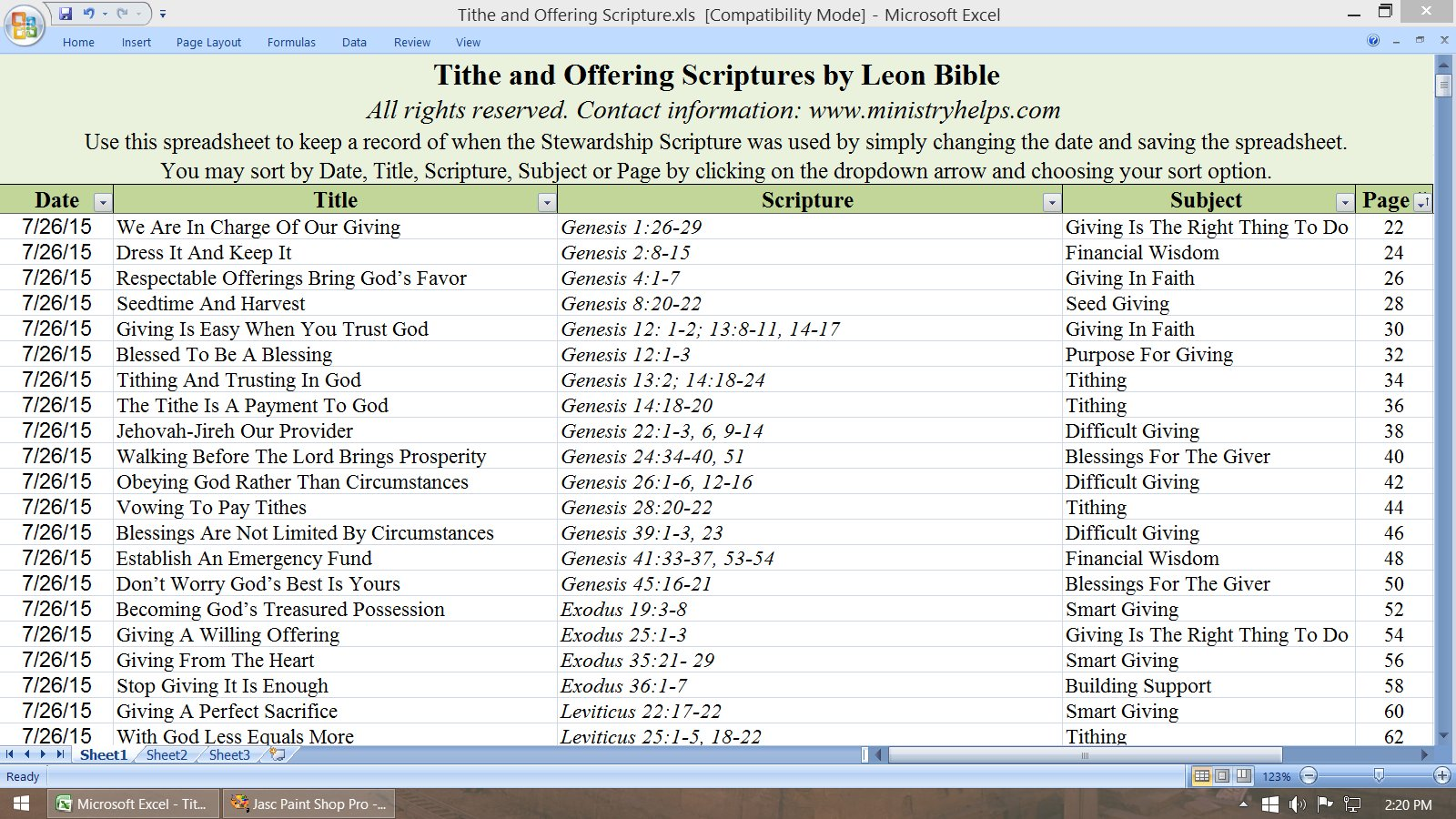 Tithe and Offering Scriptures Excel Spreadsheet